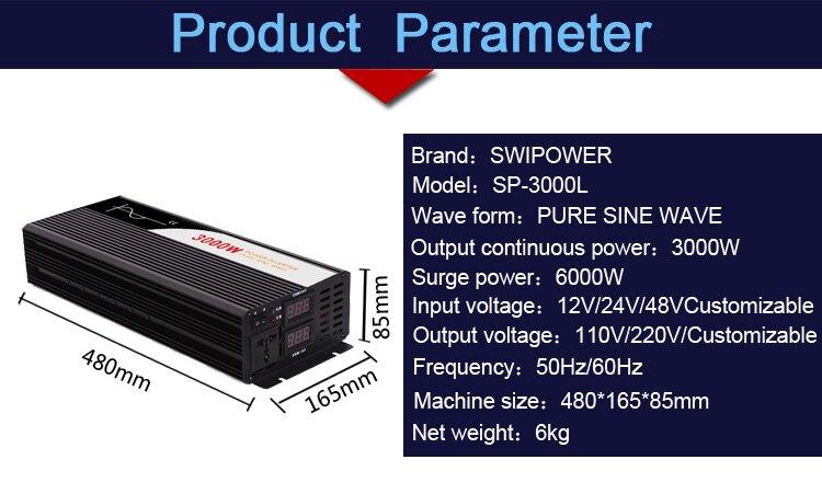 Image 2 - pure sine wave inverter 3000W new DC 12V 24V 48V to 110V 220V car  solar  power inverter-in Inverters & Converters from Home Improvement
