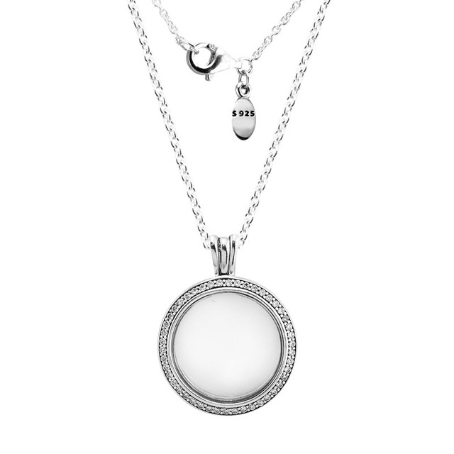 100% 925 Sterling Silver Jewelry Sparkling Locket Floating Necklace with Clear CZ Fine Jewelry for Women DIY Fits Petite Charms