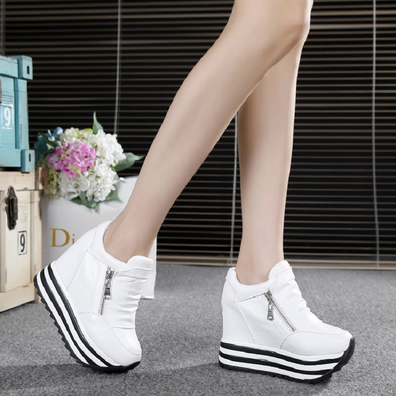 Autumn winter Fashion Platform Shoes With Zip Casual Sweet Sneakers Shallow Women High Shoes Lady Creeper Loafers Hot Sale spring autumn fashion platform shoes casual sweet sneakers shallow women shoes size 34 43