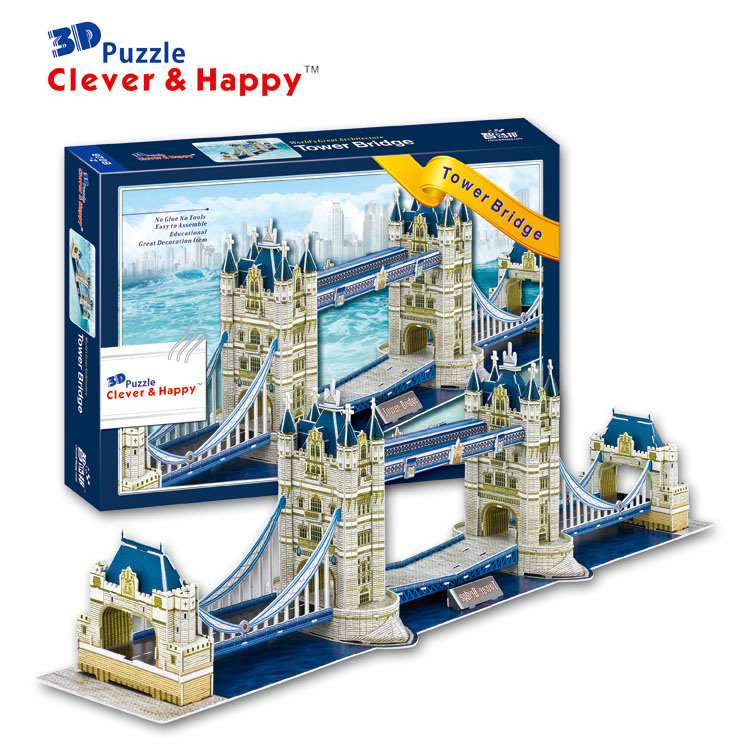 2014 new clever&happy land 3d puzzle model Tower Bridge adult puzzle diy model for boy paper learning & education series s 3d puzzle paper diy papercraft double decker bus eiffel tower titanic tower bridge empire state building