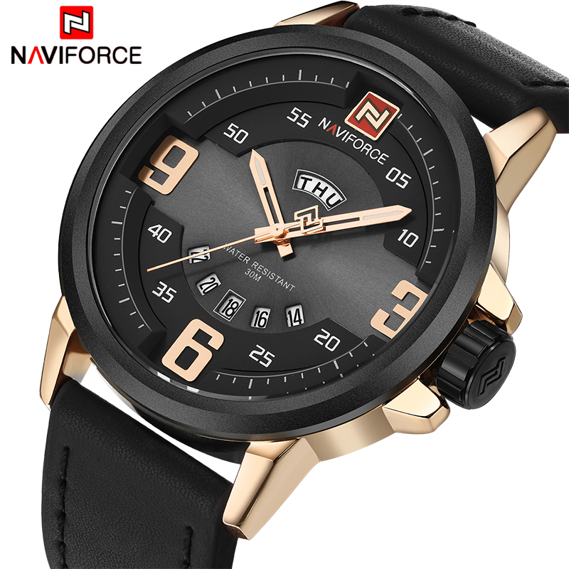 2017 NEW NAVIFORCE Fashion Brand Men Sports Watches Men's Waterproof Leather Quartz Clock Man military Watch Relogio Masculino