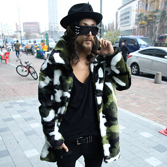 2017 men's clothing  coat male plus cotton thermal fur trench personalized Camouflage slim men's clothingThe singer's clothing