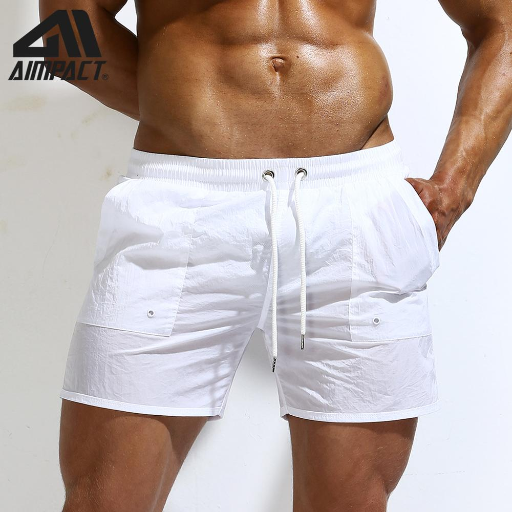 AIMPACT Summer Men's Sexy   board     shorts   Solid Liner Surfing Beach Swim   shorts   for Man Athletic Sport Gym Running Swimwear AM2185
