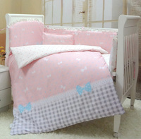 8 pieces baby girl crib bedding sets, girl quality cot bedding with bumper/sheet/quilt/pillow/diaper bag