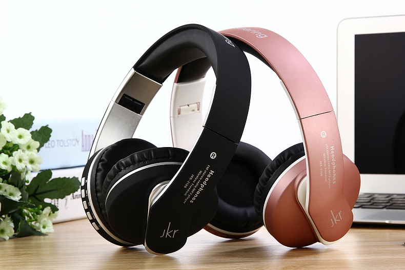 JKR-218B Wireless Bluetooth Headset Headphone Earphone with Mic Support TF Music FM for Mobile Phone PC Laptop Fone de ouvido