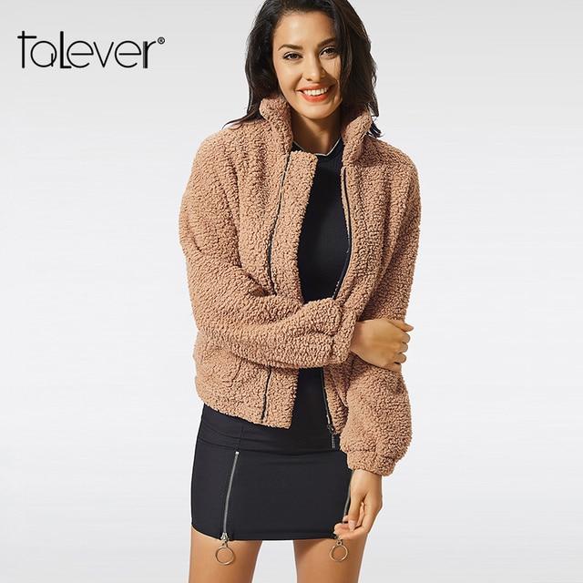 2018 Winter Women Turndown Collar Warm Coat Casual Pocket Zip Plush Autumn Parkas Female Plus Size Outwear Coats Ladies Talever