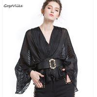 Luxury Unique V Neck Perspective Shirt With Belt 2017 Women OL Work Blouse Short Design Batwing