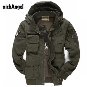 Image 1 - Mens Military Jacket air Pilots Army Jacket Casual Jacket Winter Outwear Sleeves Detachble Military Uniform Coat