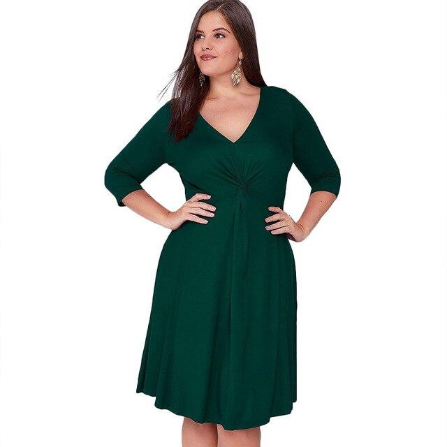New 5XL 6XL Large Size 2017 Winter Dress Green Purple V-Neck Elegance Dress Women Dresses Plus Size Women Clothing Vestidos