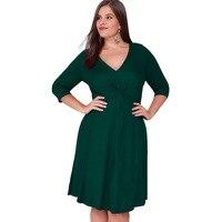 Nueva 5XL 6XL Gran Tamaño de Invierno 2017 Vestido Verde Púrpura Con Cuello En V Vestido de La Elegancia de Las Mujeres Vestidos Tallas grandes Ropa Mujer Vestidos