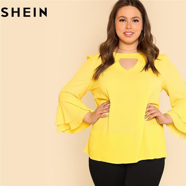 cc20ffed624ce8 SHEIN Yellow Ruffle Sleeve O Neck Plus Size Women Elegant Blouses 2018  Autumn Lady Office Layered Flounce Sleeve Top Blouse