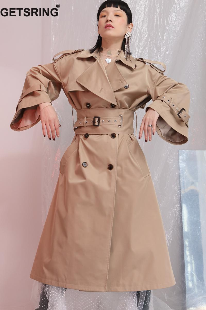 GETSRING Women Trench Coat Spring 2018 Female Overcoat Adjustable Waist Solid Oversized Long Trench Female Outerwear Plus Size