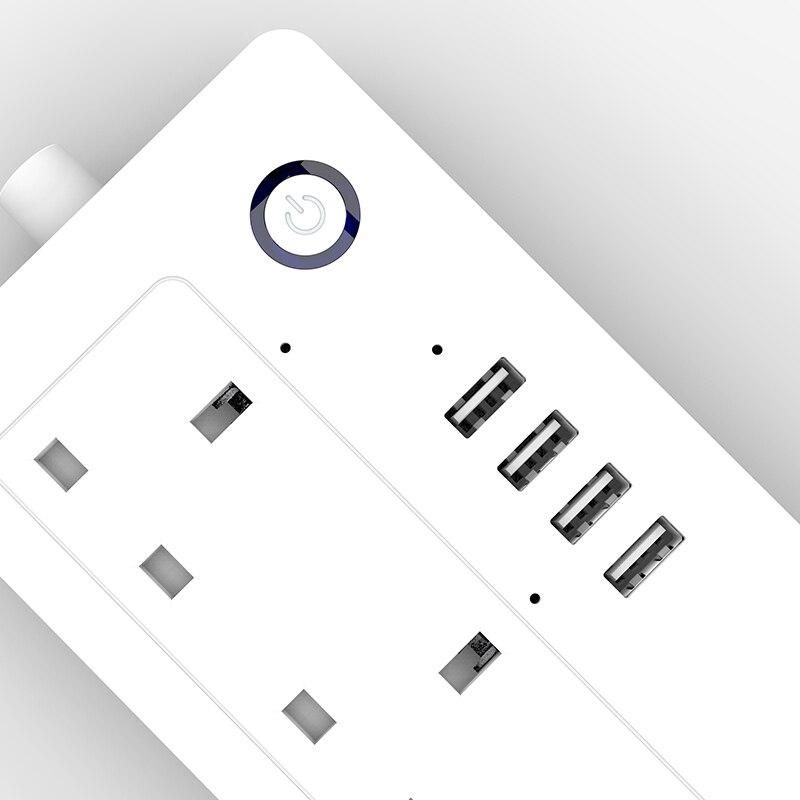 Padrão 100 240 v 13a do reino unido da tira de energia de aofo wifi avaliado tomada de extensão inteligente alexa e google casa tuya app usb - 5