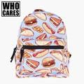 Fast food purpl impressão 3d mini backpack mulheres mochila masculina who cares novas mochilas de lona para adolescentes meninas mochilas escolares