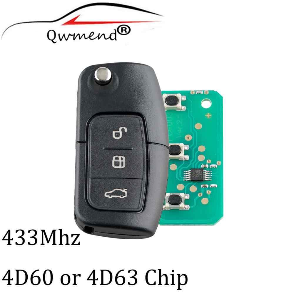 3 أزرار 433 ميجاهرتز HU101 شفرة دخول بدون مفتاح مفتاح بعيد فوب لفورد فوكس C ماكس S ماكس غالاكسي فييستا مفتاح 2003-2010 4D63/4D60 رقاقة