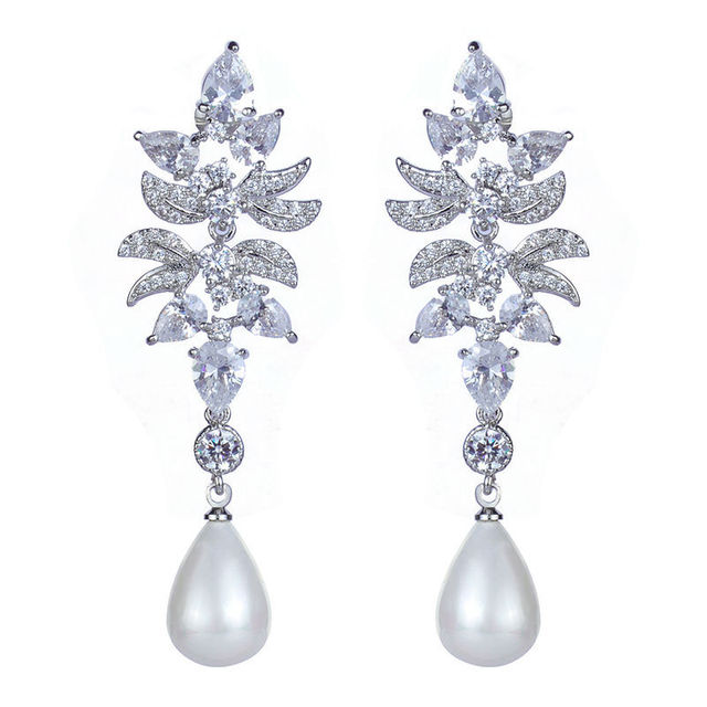 2015 de alta qualidade AAA CZ brincos dangler jóias nupcial de luxo brincos pérola para mulheres finas jóias de casamento GLE4761