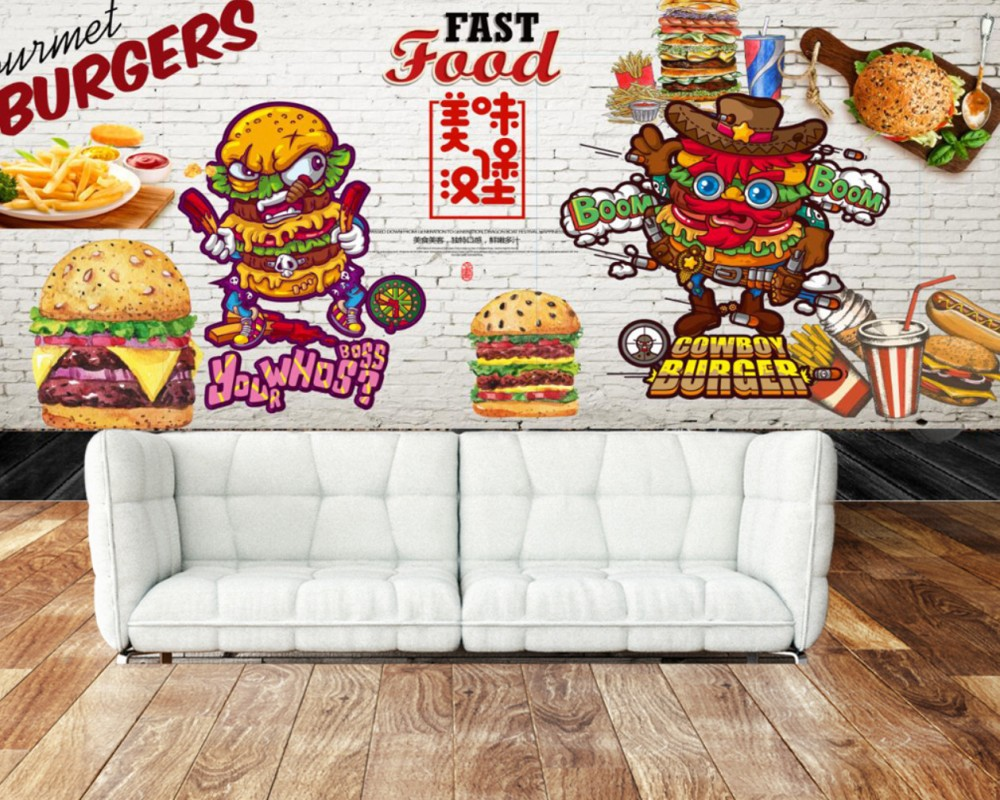 Free Shipping Custom 3D Restaurant Shop Photo Wallpaper Hamburger Dining Wall Fried Chicken Fast Food Restaurant Mural image