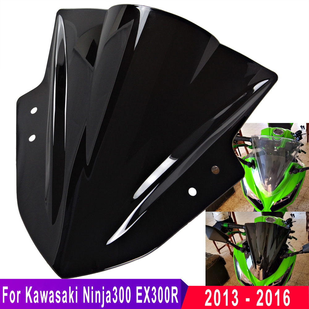 For Kawasaki Ninja 300 EX300 EX 300R 2013 2014 2015 2016 Black Windshield WindScreen Double Bubble Motorcycle Wind Screen Clear