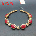 18 k gold with natural ruby bracelet female 14.4 carats
