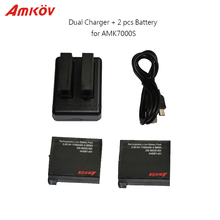 2pcs 3.8V 1150mAh Rechargeable Extra Battery & 1pc Dual Battery Charger for Original Amkov AMK7000s Sport Action Camera