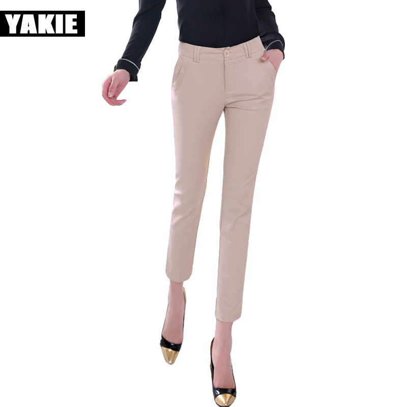 High waist   pants     capri   women pencil   pants   OL elegant office formal patchwork casual   pants   female trousers lady Plus size XXL