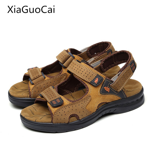 84cd1915b3d American Made High Quality Men Sandals Genuine Leather England Style Male  Sandals Cow Leather Sandals X1376 35