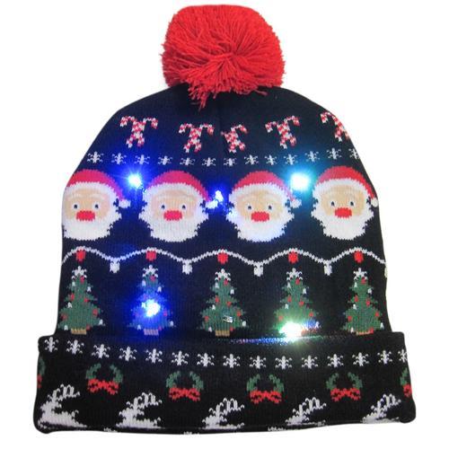 Г., 43 дизайна, светодиодный Рождественский головной убор, Шапка-бини, Рождественский Санта-светильник, вязаная шапка для детей и взрослых, для рождественской вечеринки - Цвет: 10
