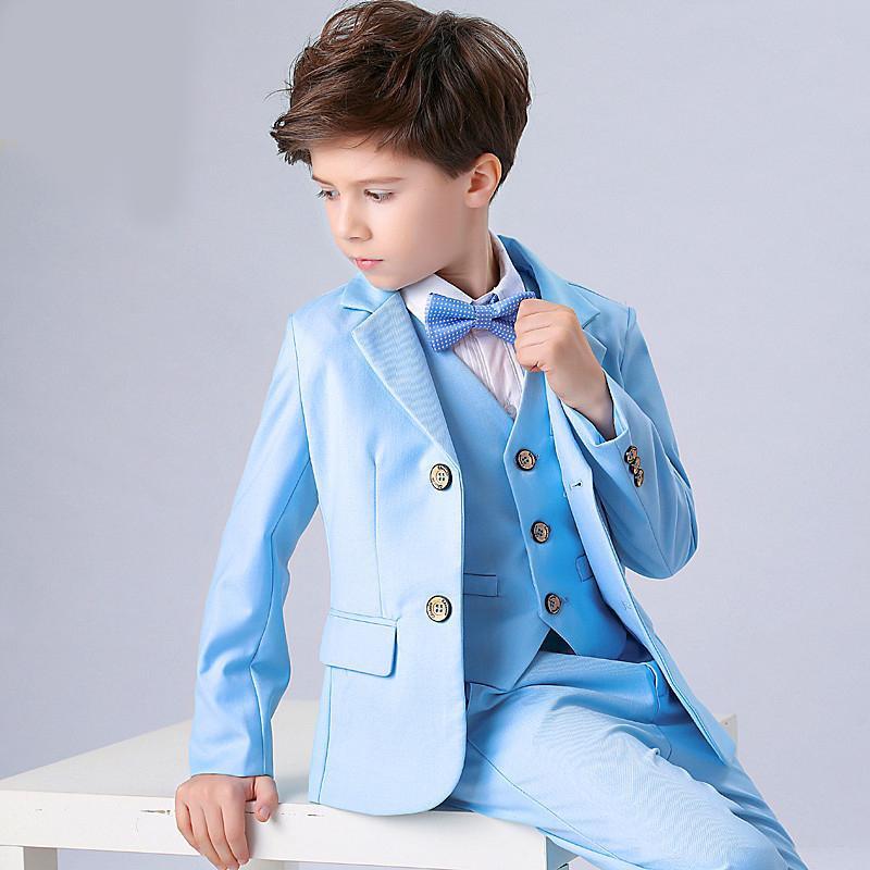 One Button Peak Lapel Kid Complete Designer Handsome Boy Wedding Suit Boys' Attire Custom-made (Jacket+Pants+Tie+Vest)