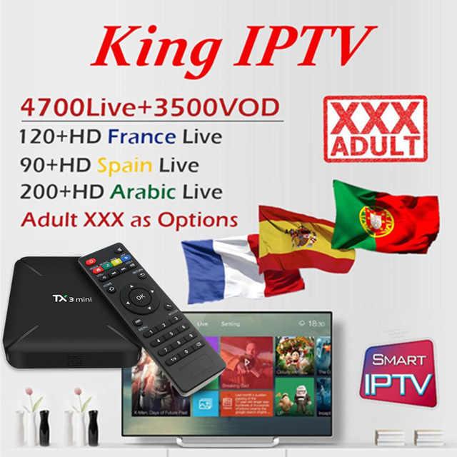 King IPTV subscription France Spain Arabic UK Germany Nordic Sweden Portugal for IPTV M3U adult android tv box MAG smart tv box