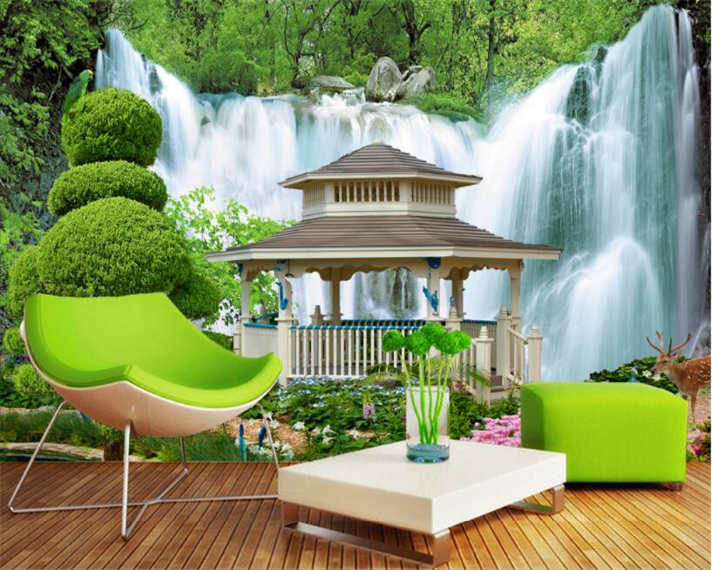 beibehang Interior fashion decorative painting personalized wallpaper aesthetic Pavilion waterfall landscape 3d wallpaper tapety