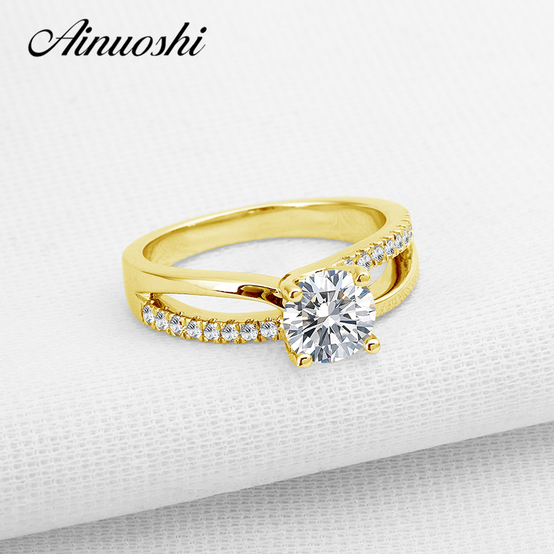 AINUOSHI 10K Solid Yellow Gold Wedding Rings 1 Carat Classic Anillos Mujer Simulated Diamond Jewelry Engagement Ring for Women ainuoshi 10k solid yellow gold wedding ring sona simulated diamond jewelry lady anillos new flower shape women engagement rings