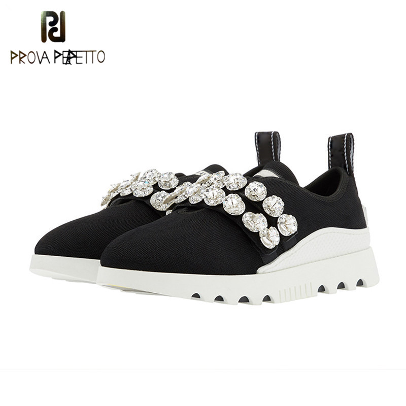 Prova Perfetto Fashion crystal knitted casual Shoes Women high quality Slip on thick Bottom Platform flat