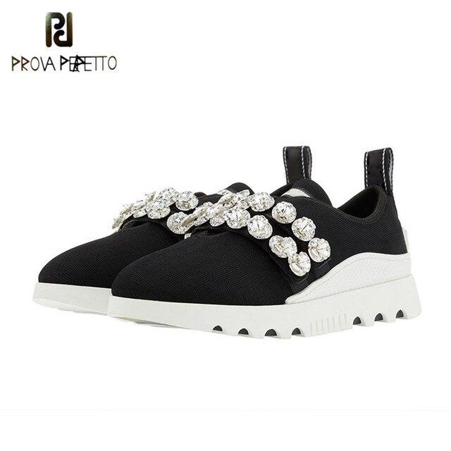 Prova Perfetto Moda kristal örme rahat ayakkabılar Kadınlar yüksek kaliteli Kayma kalın Alt Platformu düz ayakkabı kadın ayakkabı