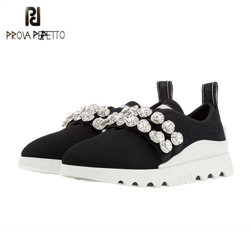 Prova Perfetto moda kryształ z dzianiny buty w stylu casual kobiety wysokiej jakości Slip on grube dno płaskie buty na platformie kobieta trampki w Damskie buty typu flats od Buty na  Grupa 1