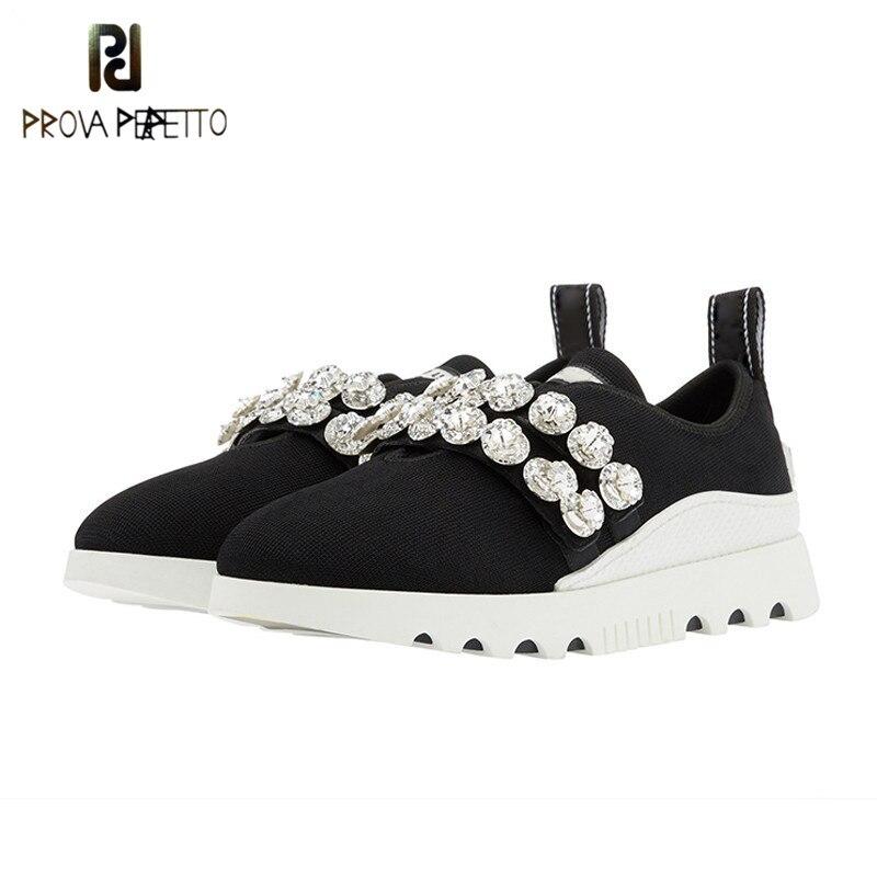 Prova Perfetto mode cristal tricoté chaussures décontractées femmes haute qualité sans lacet fond épais plate-forme chaussures plates femme baskets