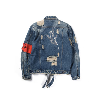 Youth Personality Fashion Classic Broken Zipper For Old Denim Jacket Bule Black Exquisite Jeans Jackets Coats Trend Men Clothing 2