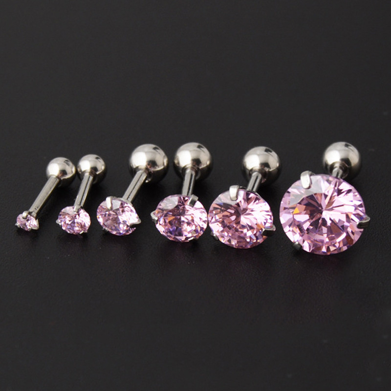 Sale 1Pair Dazzling zircon men and women 2mm-6mm 8mm Ear Earrings Bone Nail Small Stainless Steel