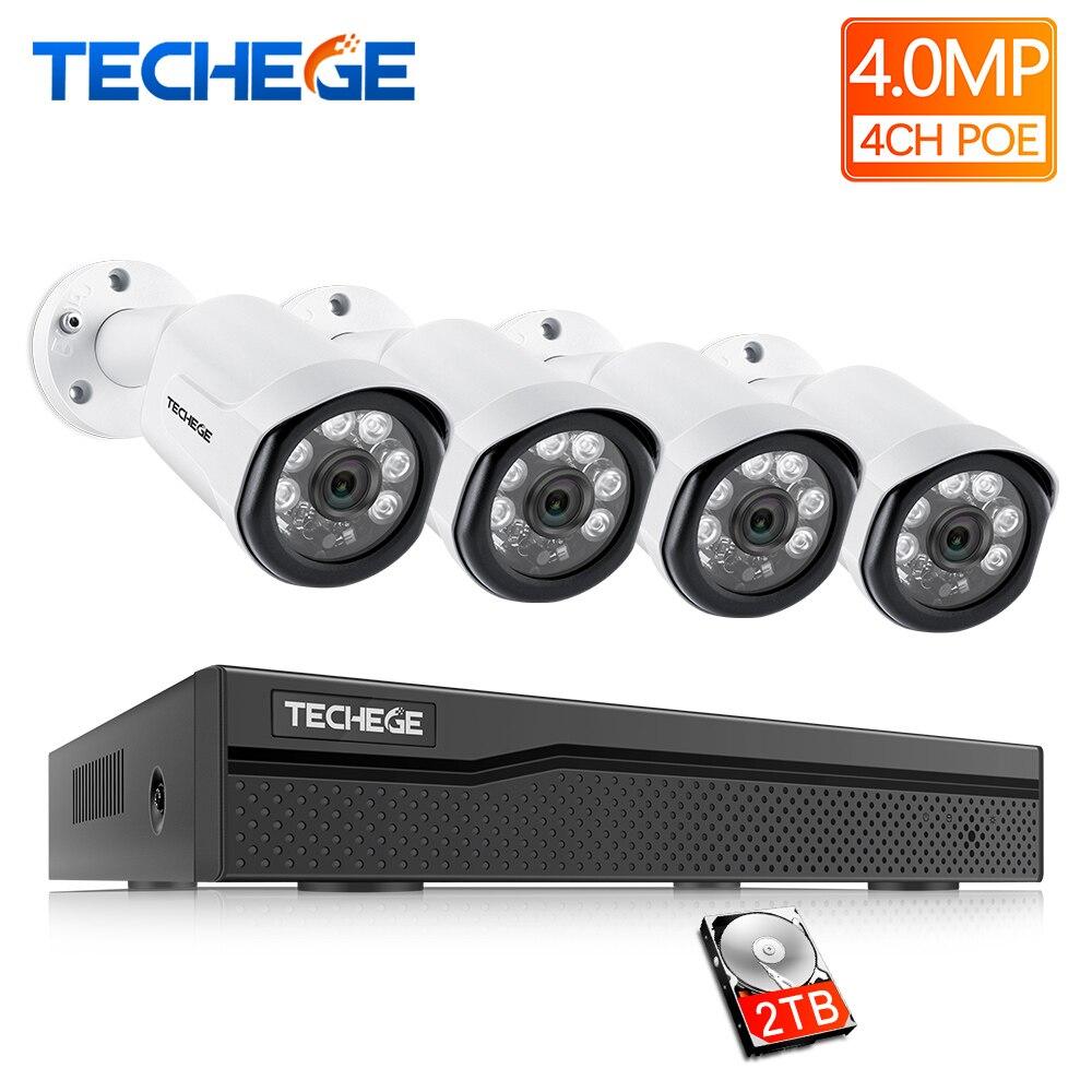 Techege 4CH CCTV kit de surveillance HD 4.0MP 2560x1440 P Extérieure caméra de sécurité Système avec 4x4 MP POE IP caméra Vidéo Système
