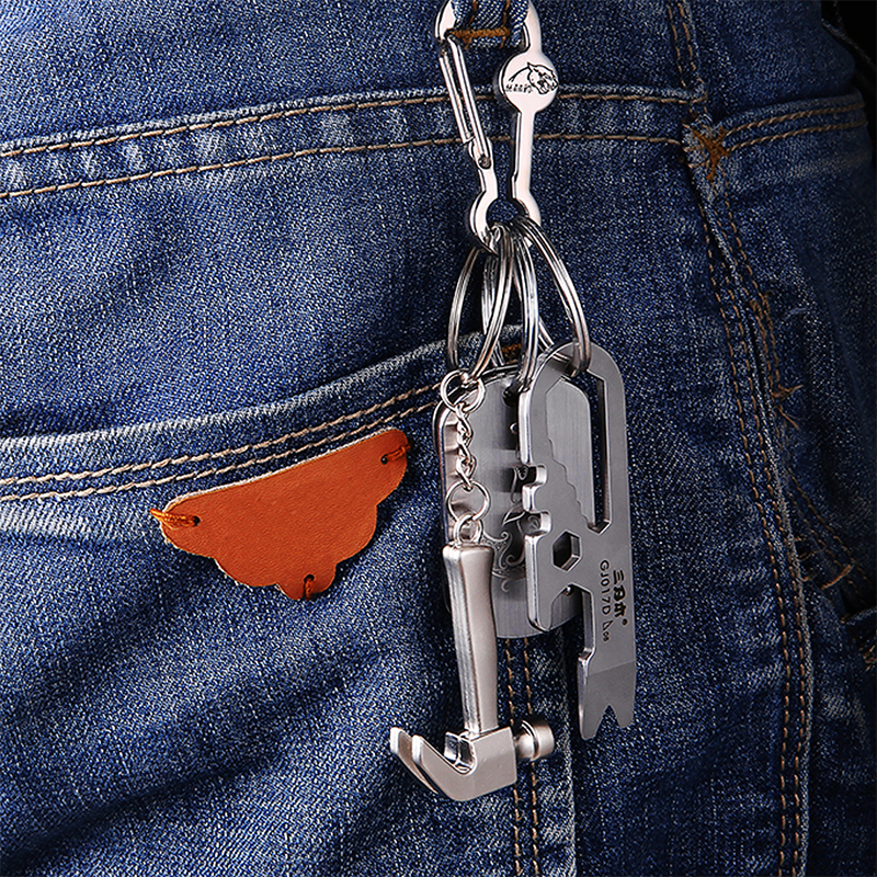 цена на 1PC Funny Car Keyring Creative Metal Keychain Personality Claw Hammer Pendant