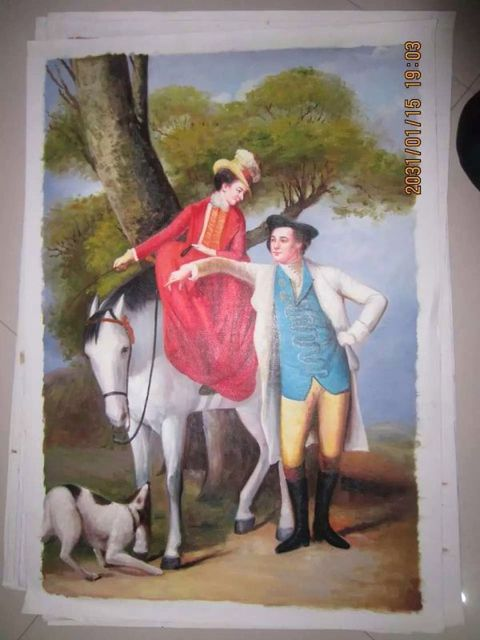 100% handmade painting court figure noble lover horse riding scenery hand painting on canvas sitting room central hang painting