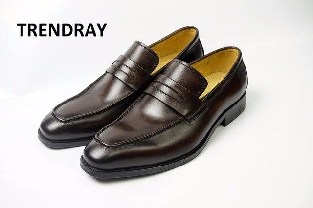 new arrival 36a0c 189f3 US $67.06 |TRENDRAY Uomini scarpa Moc scarpa in pelle di mucca scarpa  mocassino con Penny piatto scarpa comoda suola in gomma wedding party  affari in ...