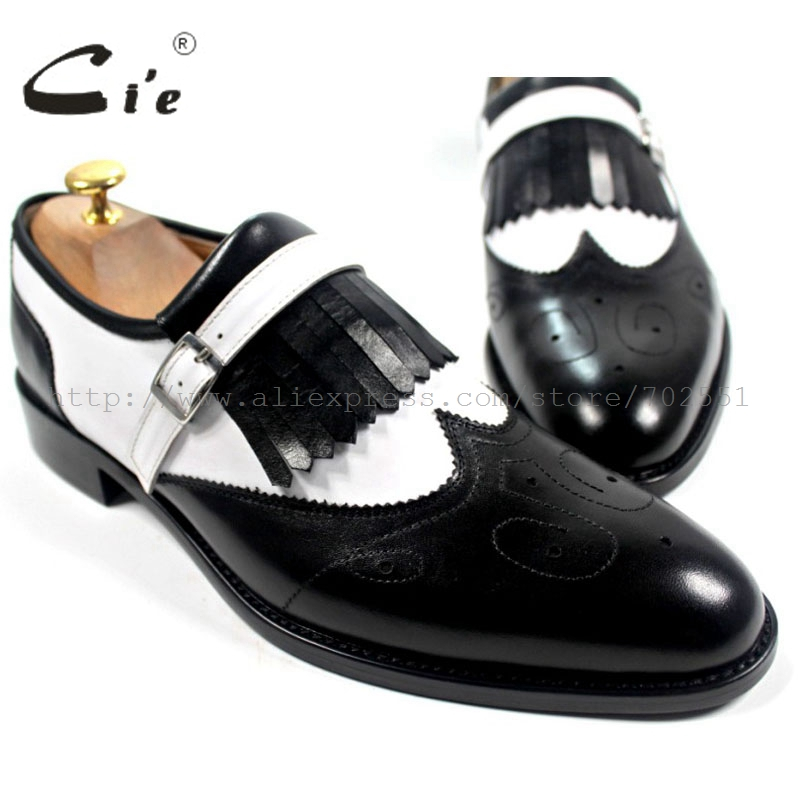 cie Free Shipping Handmade Men's  Calfskin Boat Black/white Tassels Leather Outsole Breathable Slip-on Buckle Shoe No.Loafer 21 cie free shipping handmade tassels buckle loafer brown white matching calf leather bottom outsole men shoe 3 crafts loafer66