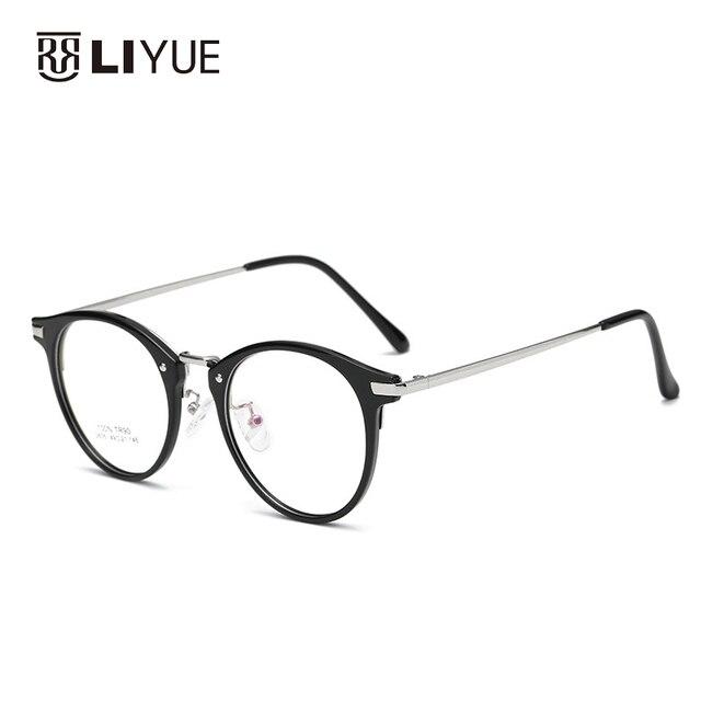 f4cd44499 Retro rodada armação dos óculos quadros TR90 super leve moda óculos de  prescrição para miopia ou
