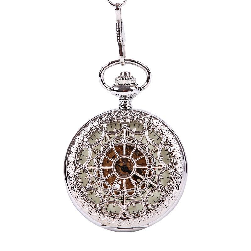 Orologio da taschino meccanico da uomo con fibbia a cavalletto, orologio da taschino con fibbia a mano, in acciaio inossidabile