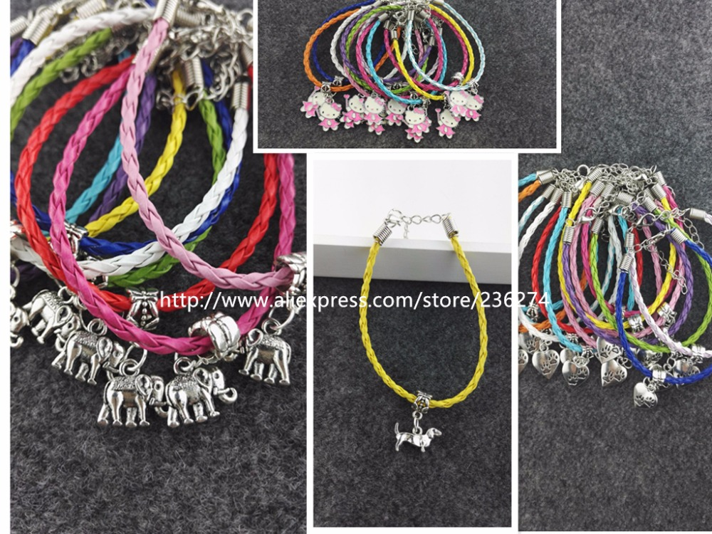 2016 Hot 50pcs Kabbalah Lovely Greyhound Charms Pendants Mixed Color Braided Rope Bracelets Fashion Jewelry DIY For Women&Men