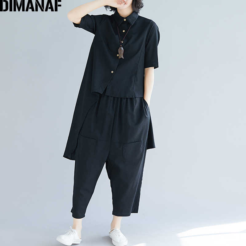 DIMANAF Plus Size Women Sets Office Lady Tops Shirt Long Pants Female Clothes Loose 2 Pieces Set Solid Cotton 2019 Spring Summer