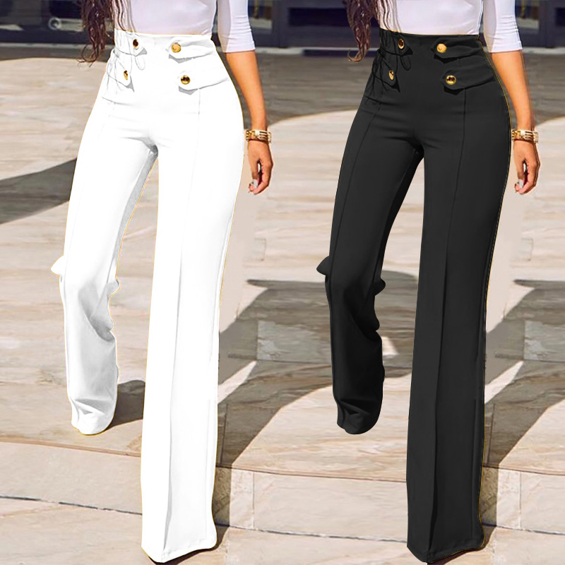 Women Fashion   Wide     Leg     Pants   2019 Celmia Office Lady Work High Waist Elegant Trousers Buttons Casual Solid Palazzo Plus Size 5XL