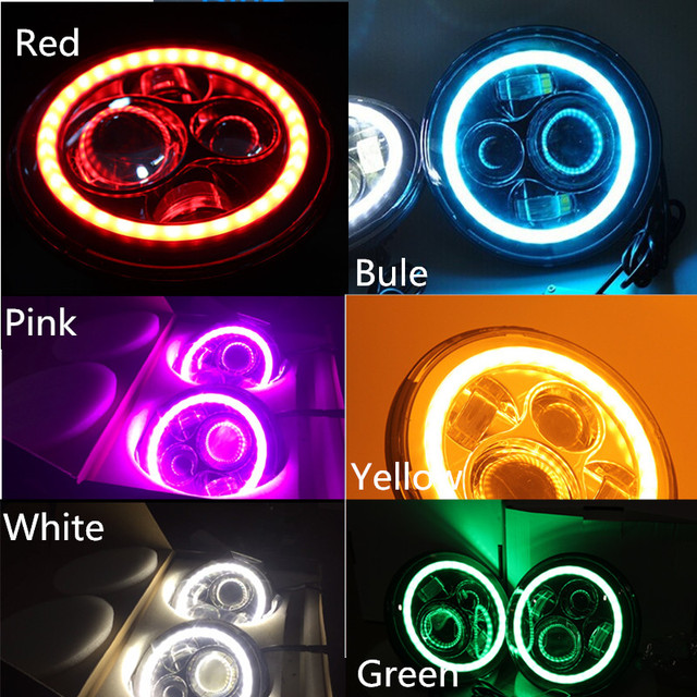 7 in round led headlights functional halo ring angel eyes drl lamp and amber turning signal lights for jeep wrangler jk hummer