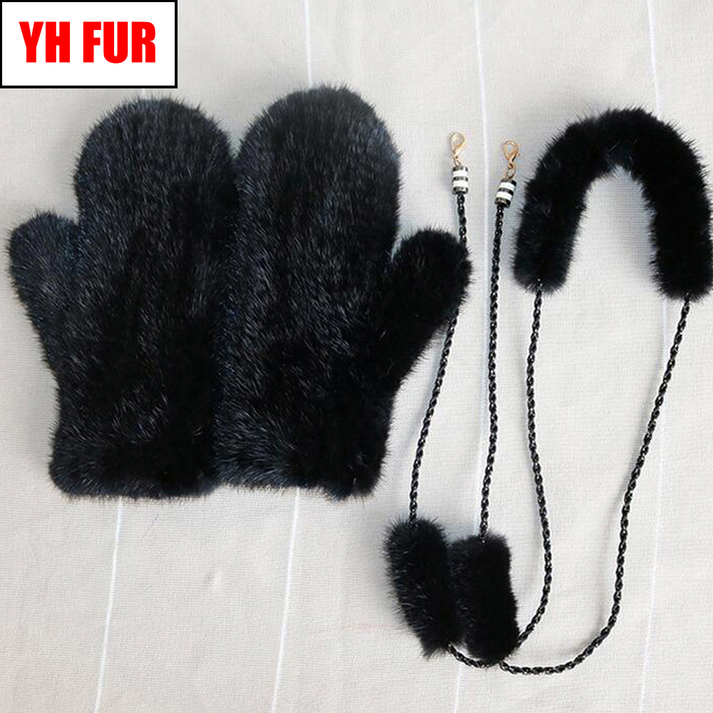 Handmade Knitted Natural Mink Fur Mittens Russian Lady Winter Thick Warm Real Genuine Mink Fur Gloves Women Real Mink Fur Gloves