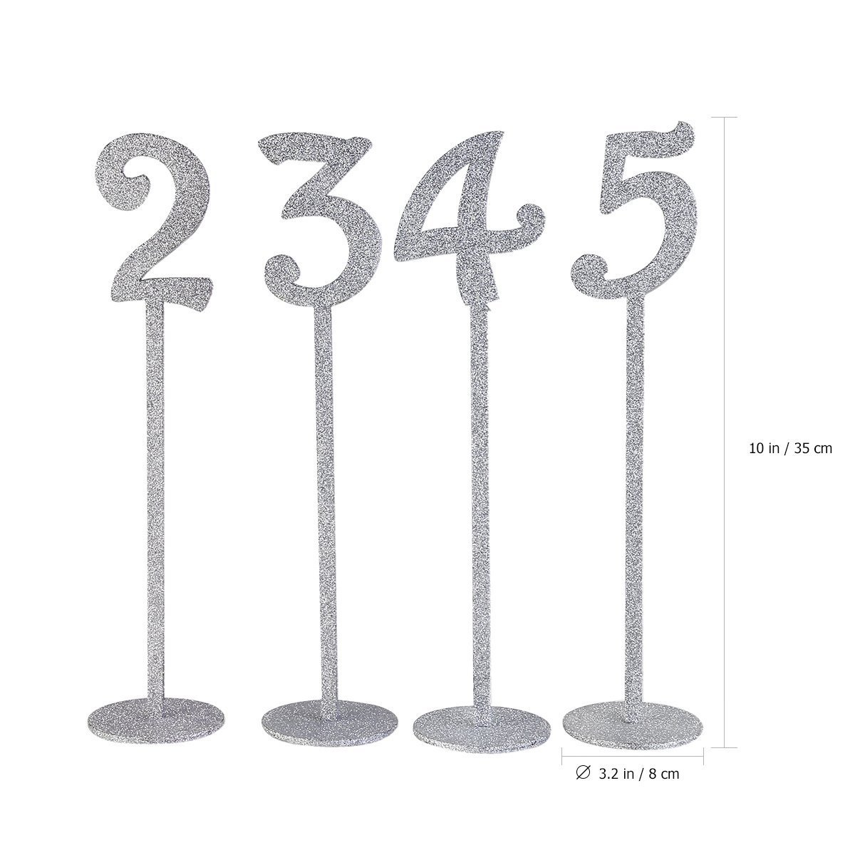 1 20 Silver Glitter Table Place Seating Numbers Holders Elegant Wedding Bridal Shower Birthday Party Table Decoration Supplies in Party DIY Decorations from Home Garden